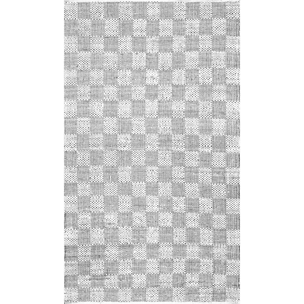 nuLOOM Zofia Braided Checkerboard Ivory 8 ft. x 10 ft. Ar...