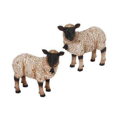 11 in. L Resin Sheep Figurines (2-Set)