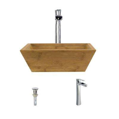 Vessel Sink in Bamboo with 731 Faucet and Pop-Up Drain in Chrome