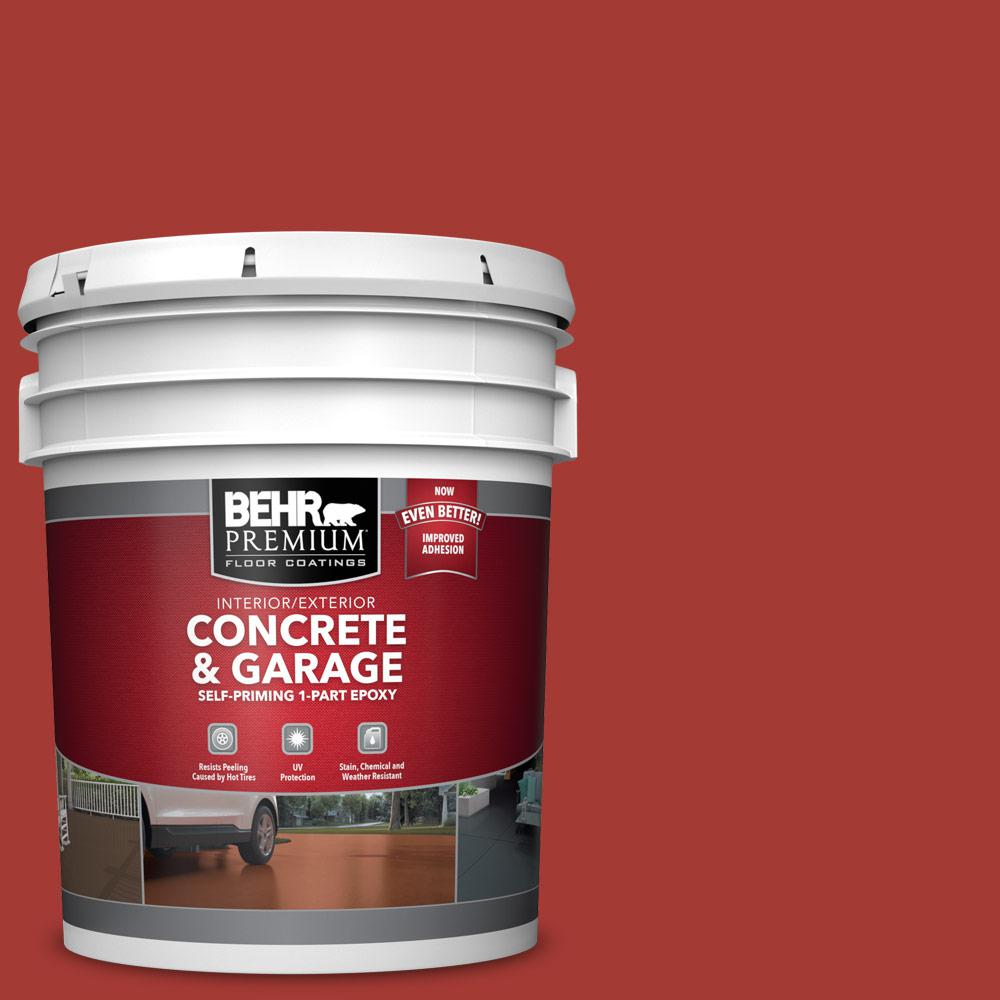 BEHR PREMIUM 5 gal. #PFC-03 Red Baron Self-Priming 1-Part Epoxy Satin Interior/Exterior Concrete and Garage Floor Paint