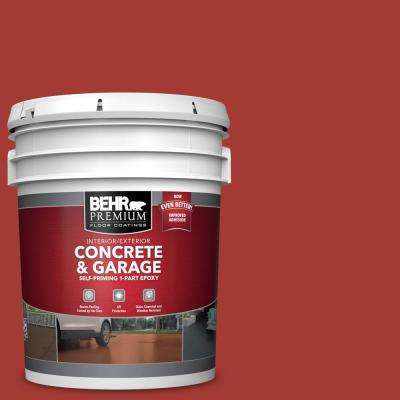 5 gal. #PFC-03 Red Baron Self-Priming 1-Part Epoxy Satin Interior/Exterior Concrete and Garage Floor Paint