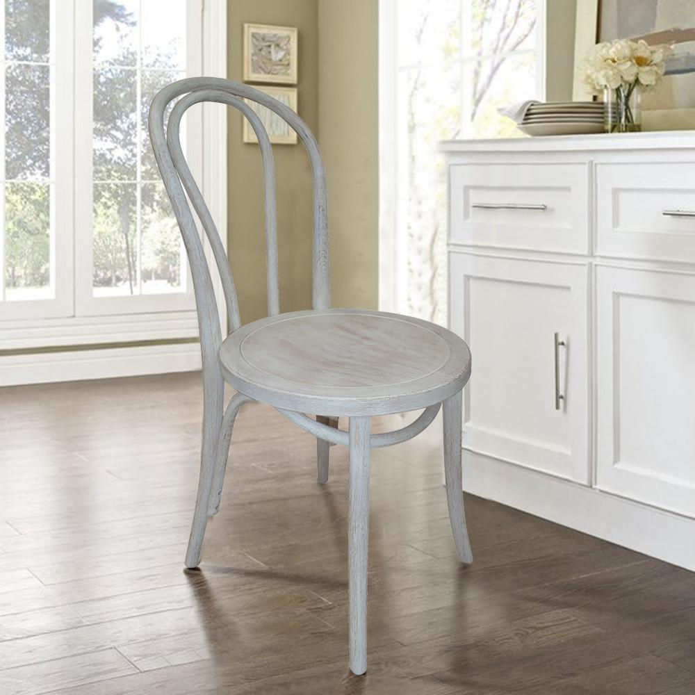 French Cafe Distressed White Dining Chair (Set Of 2)