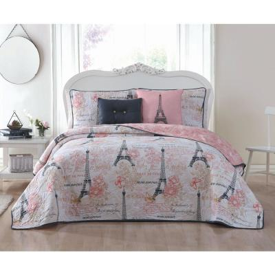 Amour 4-Piece Pink Twin Quilt Set