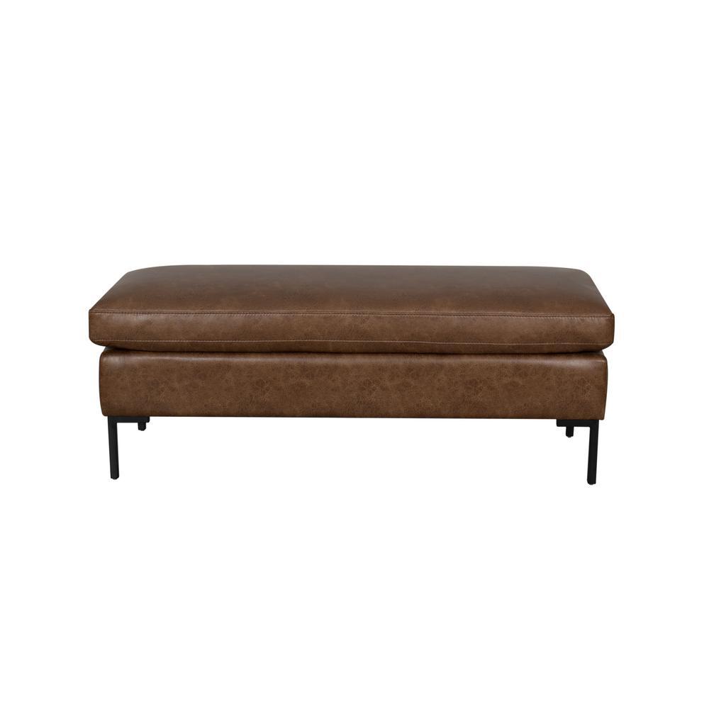 Brown Saddle PU Leather Upholstered Metal Leg Modern Bench