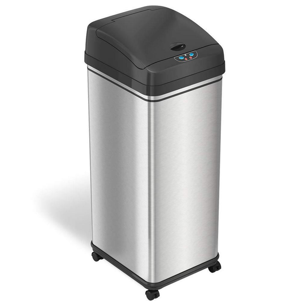 Sensor stainless steel trash can with wheels and odor control system