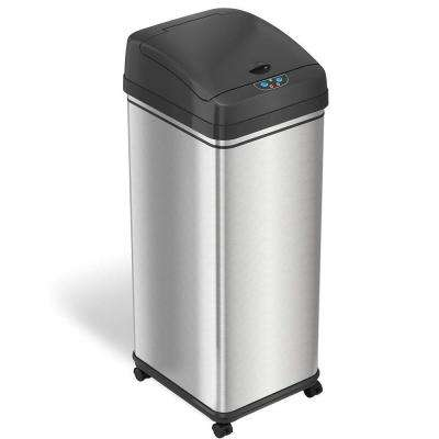 Glide 13 Gal. Sensor Stainless Steel Trash Can with Wheels and Odor Control System