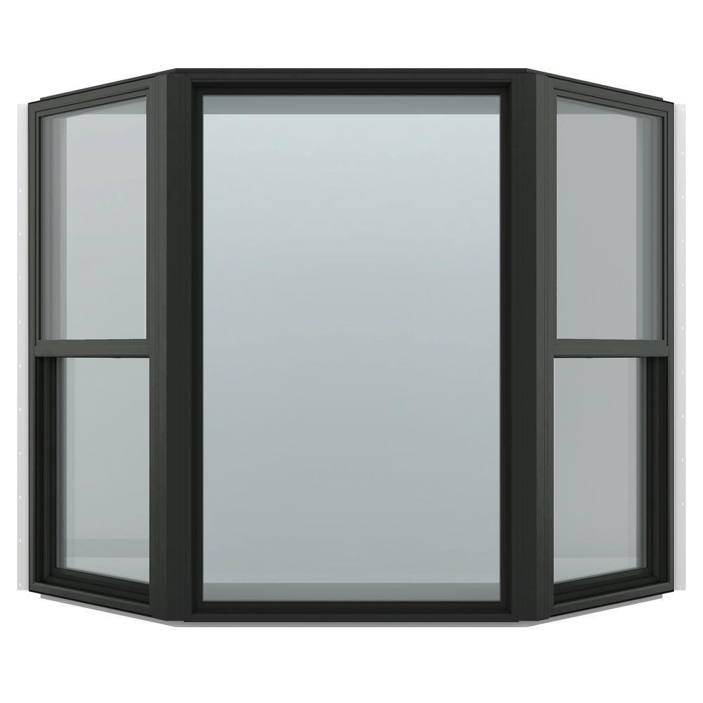 74 in. x 61 in. V-4500 Series Bronze FiniShield Vinyl Bay Window