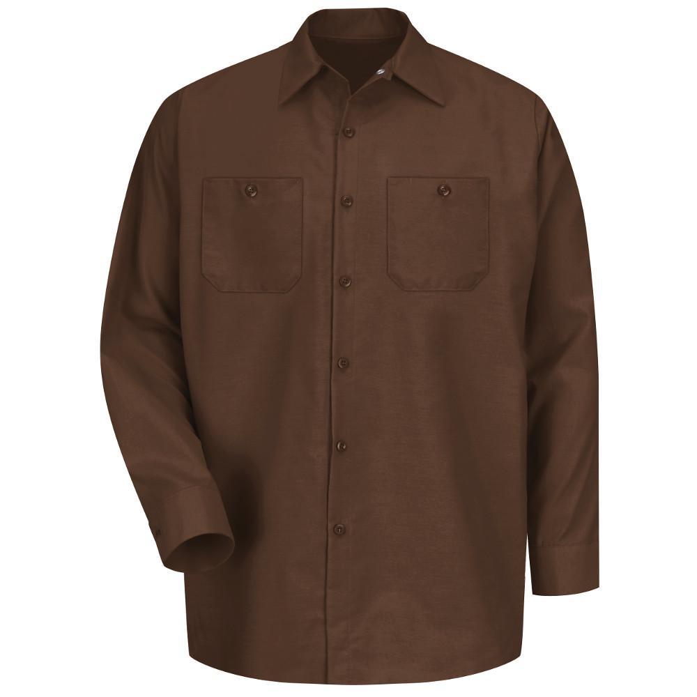 Men's Size 2XL Chocolate Brown Long-Sleeve Work Shirt