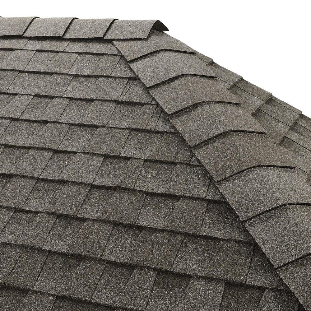 GAF Timbertex Pewter Gray Double-Layer Hip and Ridge Cap Roofing Shingles (20 lin. ft. per Bundle) (30-pieces)