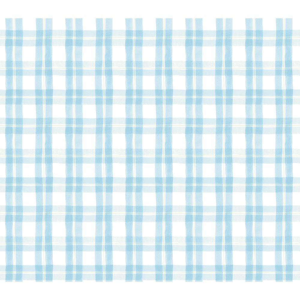 Disney 8 in. x 10 in. Blue Pastel Plaid Watercolor Wallpaper Sample-DISCONTINUED