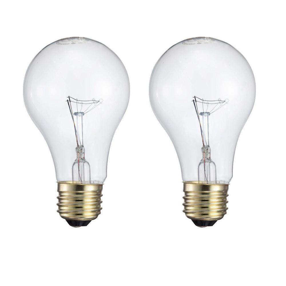Philips 60-Watt A19 Incandescent Garage Door Light Bulb (2-Pack)