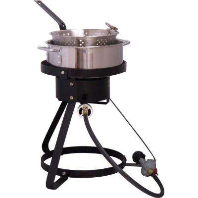 54,000 BTU Bolt Together Propane Gas Outdoor Cooker with Low Profile 7 qt. Stainless Steel Fry Pan