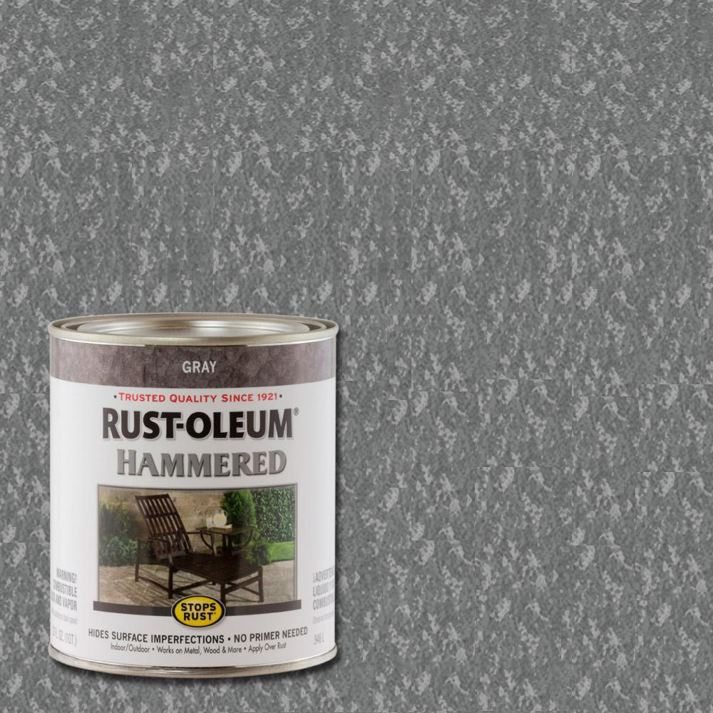 Rust-Oleum Stops Rust 1 qt. Gray Hammered Rust Preventive Paint (2-Pack)