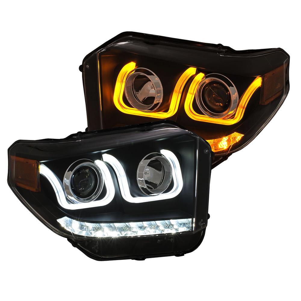 ANZO 14-18 Toyota Tundra w/ LED DRL Projector Headlights w/ U-Bar  Switchback Black w/ DRL