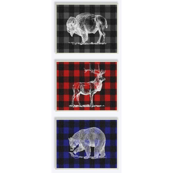 Stupell Industries 10 in. x 15 in. ''Plaid American Animal Trio''