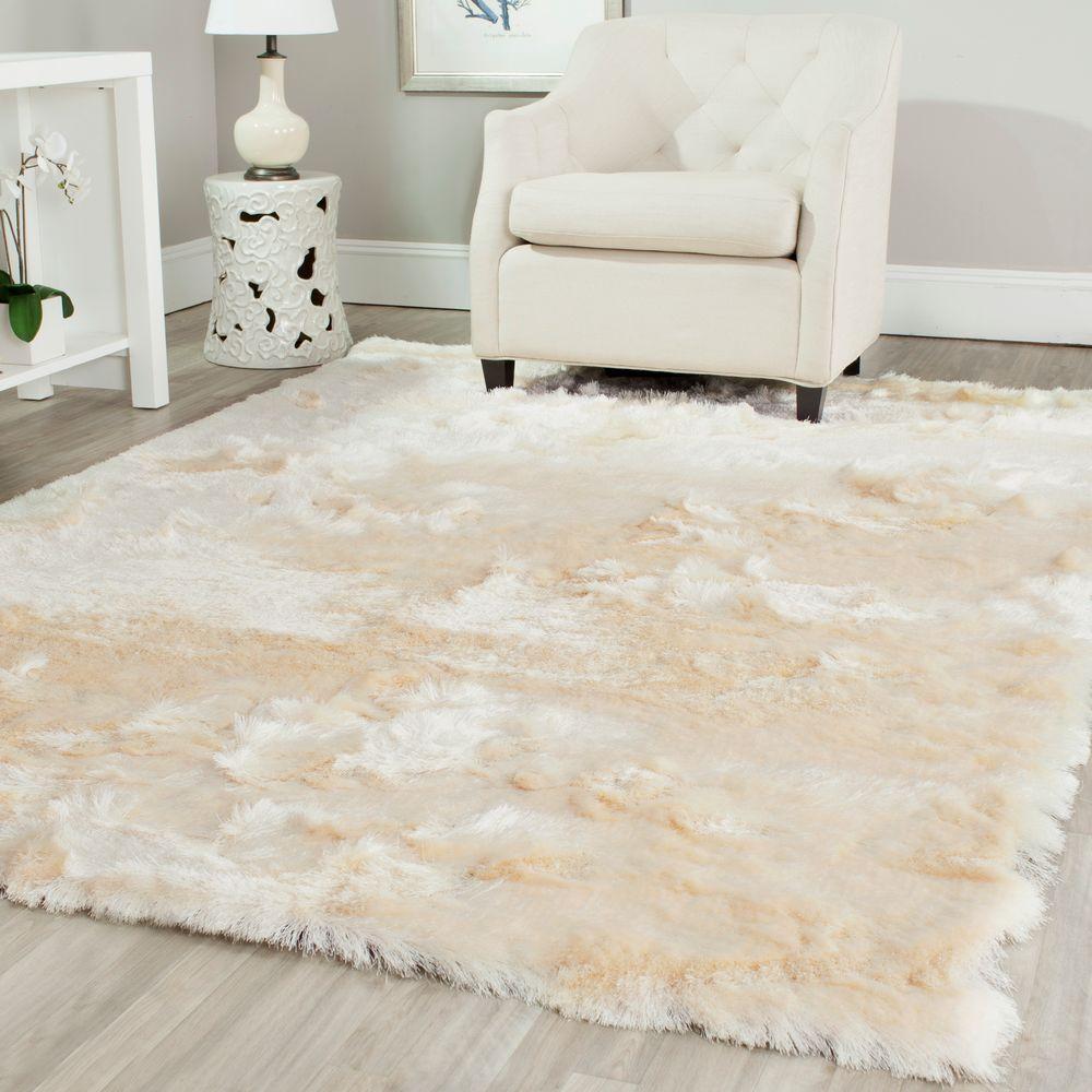 safavieh paris shag ivory 6 ft x 9 ft area rug