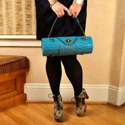 Turquoise Blue Wine Carrier and Purse