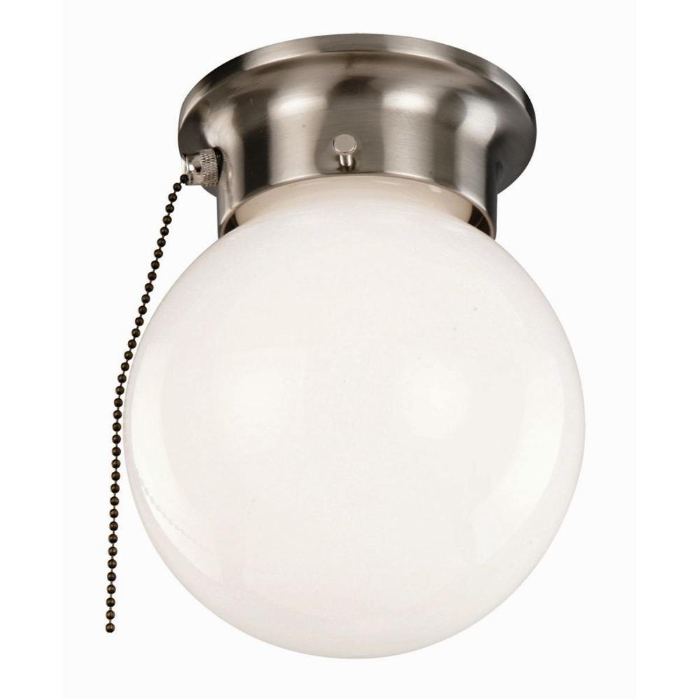 Design house 1 light satin nickel ceiling light with opal glass and pull chain