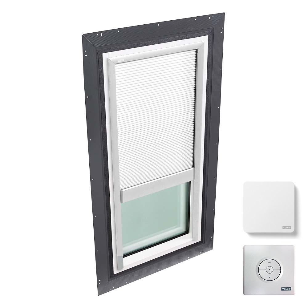 VELUX 22-1/2 in. x 46-1/2 in. Fixed Self Flashed Skylight w/ Tempered Low-E3 Glass & White Solar Powered Room Darkening Blind