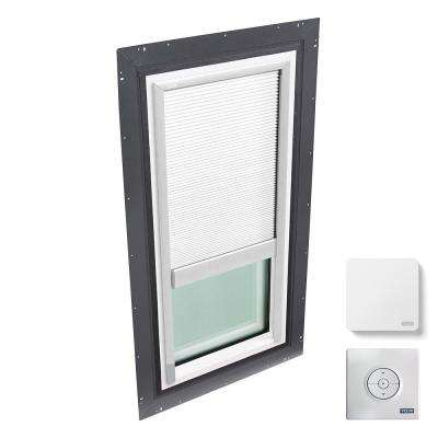 22-1/2 in. x 46-1/2 in. Fixed Self Flashed Skylight w/ Tempered Low-E3 Glass & White Solar Powered Room Darkening Blind