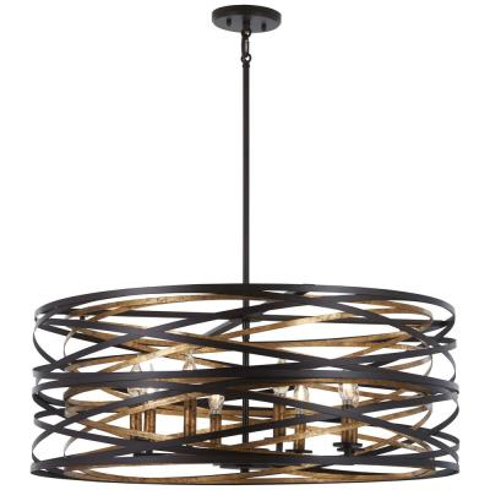 Vortic Flow 8-Light Dark Bronze with Mosaic Gold Interior Pendant