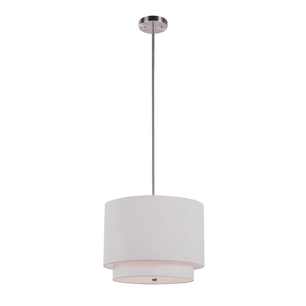 Schiffer 3-Light Brushed Nickel Pendant with Ivory Shade