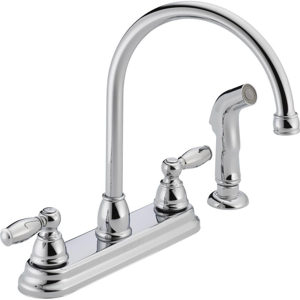 peerless apex 2 handle standard kitchen faucet with side sprayer in rh homedepot com peerless sink faucet review
