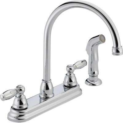 Apex 2-Handle Standard Kitchen Faucet with Side Sprayer in Chrome