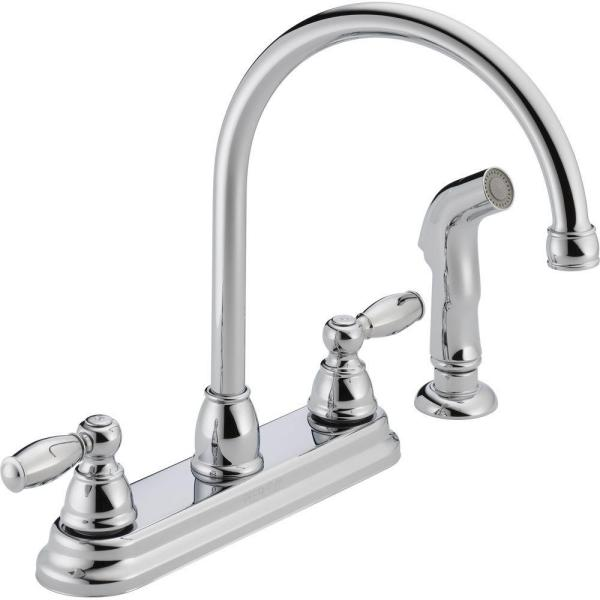 Peerless Apex 2 Handle Standard Kitchen Faucet With Side Sprayer In Chrome P299575lf The Home Depot