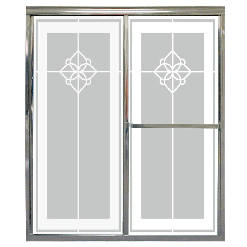 Contractors Wardrobe Model 1100 58-1/2 in. x 56-3/4 in. Framed Sliding Tub Door in Bright Clear with Paladin Rose Etched Glass