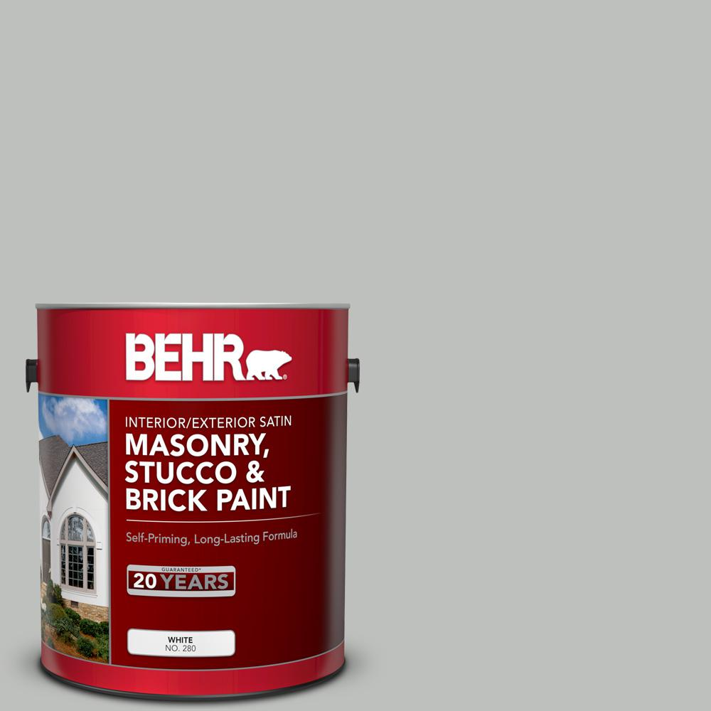 BEHR 1 gal  #SC-365 Cape Cod Gray Satin Interior/Exterior Masonry, Stucco  and Brick Paint