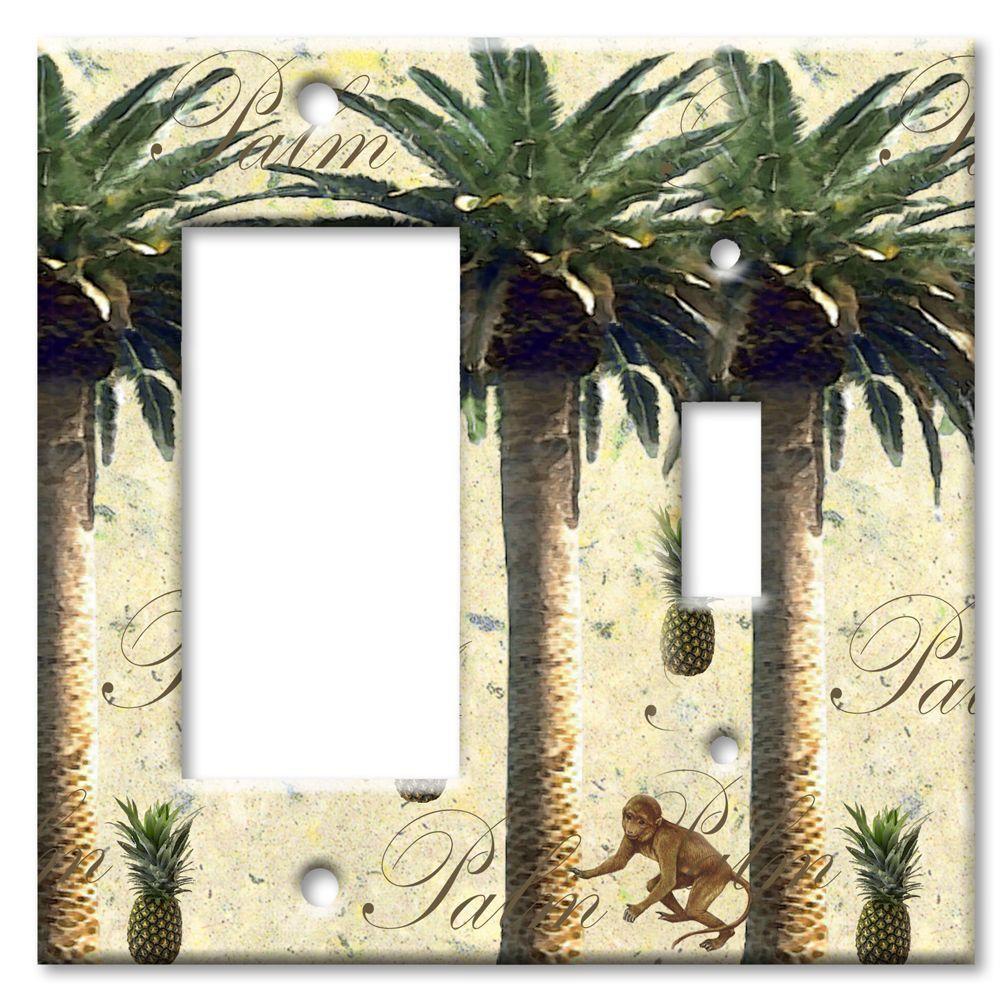 Art Plates Palm Tree Rocker/Switch Combo Wall Plate