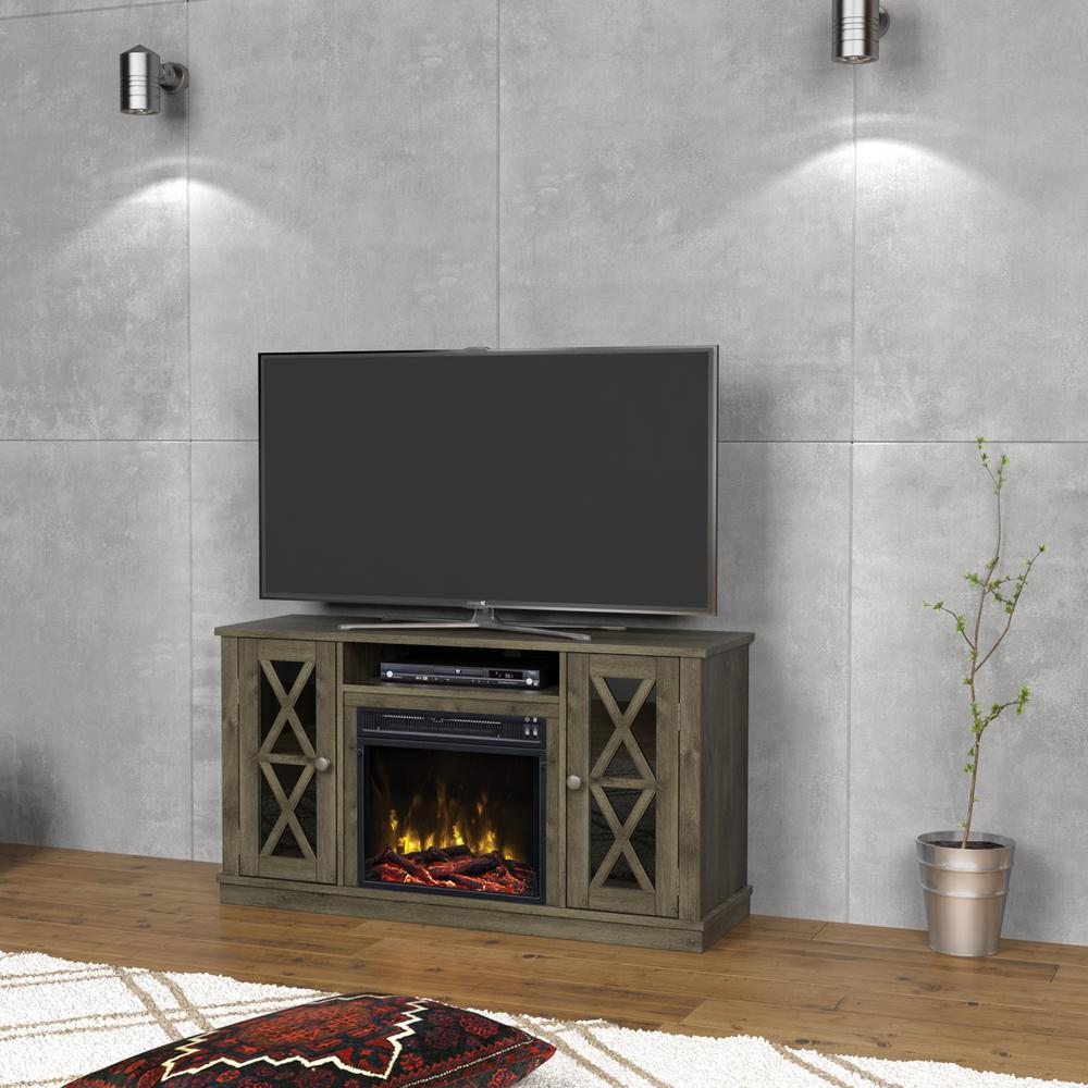 Bring a modern and contemporary look to your home by choosing this Classic Flame Bayport Media Console Electric Fireplace in Spanish Gray.