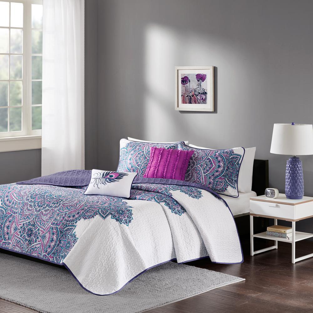 Katarina 5-Piece Purple Full/Queen Abstract Coverlet Set