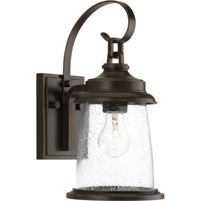 Conover Collection 1-Light Antique Bronze 14.25 in. Outdoor Wall Lantern Sconce
