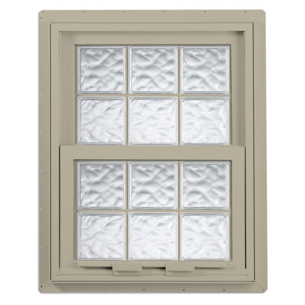 Hy-Lite 28.125 in. x 28.75 in. Acrylic Block Single Hung Vinyl Window - Tan