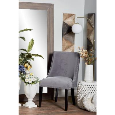 Gray Wood and Fabric Cushioned Dining Chair
