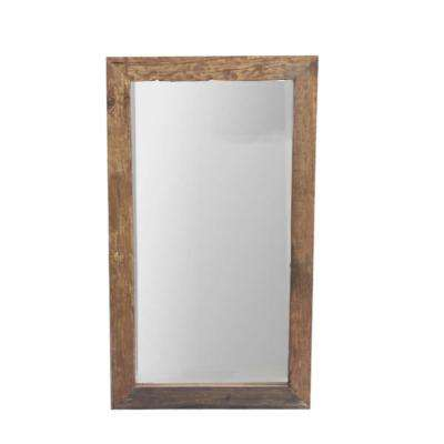 Brown Elegant and Simple Sleeper Wood Accent Wall Mirror