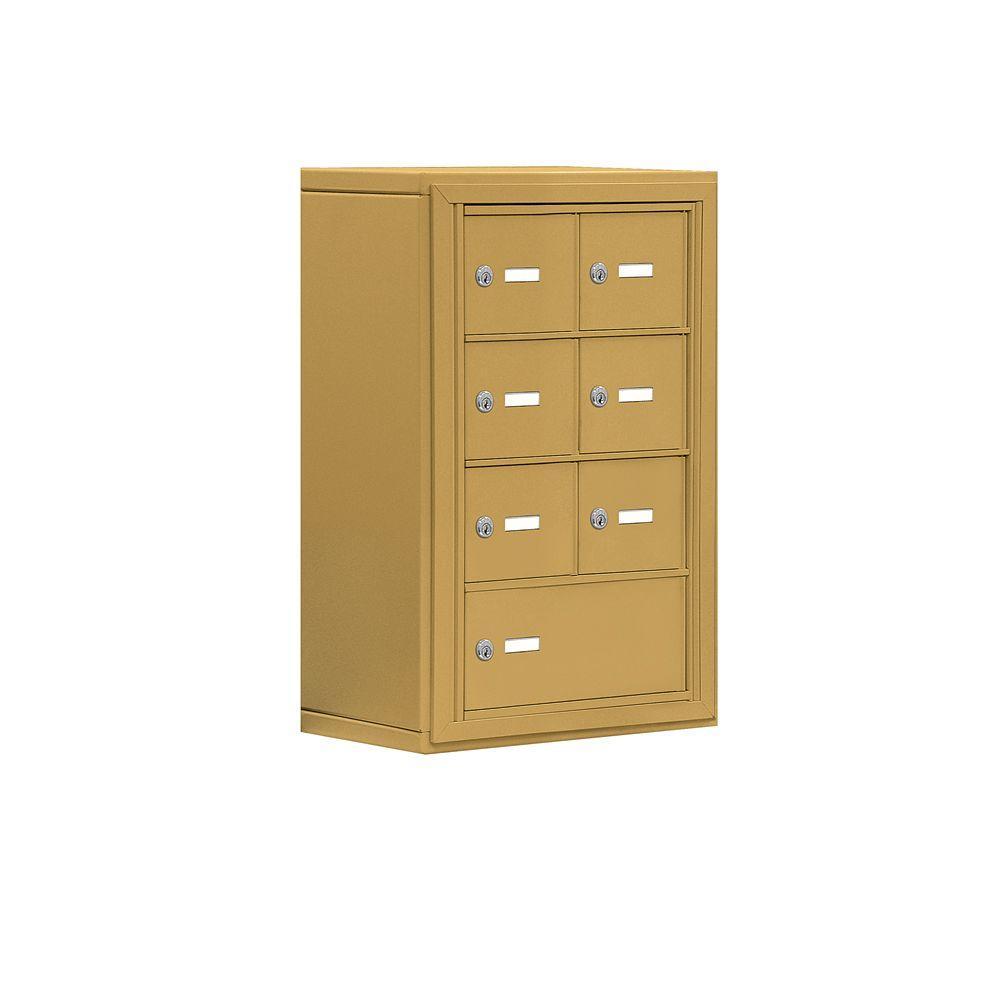 Salsbury Industries 19000 Series 17.5 in. W x 25.5 in. H x 9.25 in. D 6 A / 1 B Doors S-Mount Keyed Locks Cell Phone Locker in Gold