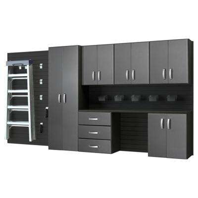 Modular Wall Mounted Garage Cabinet Storage Set with Workstation/Accessories in Black/Graphite Carbon Fiber (7-Piece)
