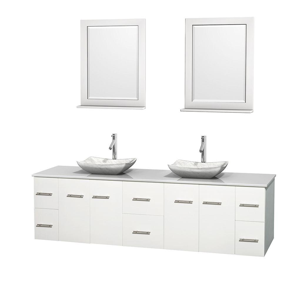 Wyndham Collection Centra 80 In Double Vanity White With Solid Surface Top