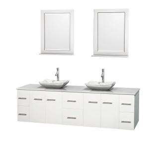 Wyndham Collection Centra 80 inch Double Vanity in White with Solid-Surface Vanity Top in White, Carrera Marble Sinks... by Wyndham Collection