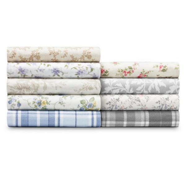 Laura Ashley 4 Piece Floral Purple Cotton Flannel Full Sheet Set Ushsa01119893 The Home Depot