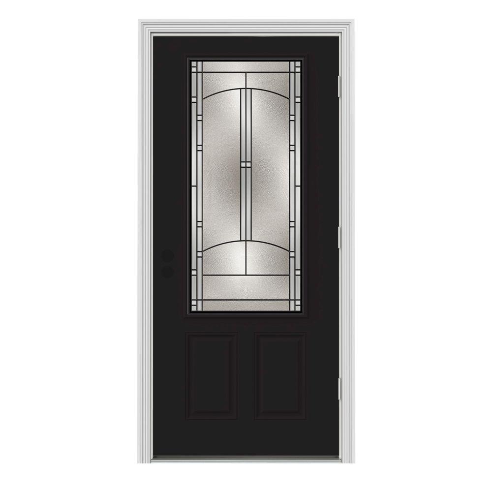 jeld wen 34 in x 80 in 3 4 lite idlewild black w white interior