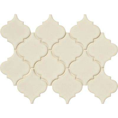 Antique White Arabesque 10-1/2 in. x 15-1/2 in. x 8 mm Glazed Ceramic Mesh-Mounted Mosaic Wall Tile (11.7 sq. ft. /case)