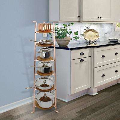 Handcrafted Brushed Copper 6-Tier Gourmet Cookware Stand (Unassembled)