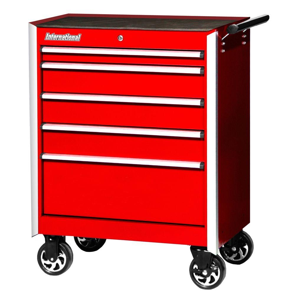 Pro Series 27 in. 5-Drawer Cabinet, Red