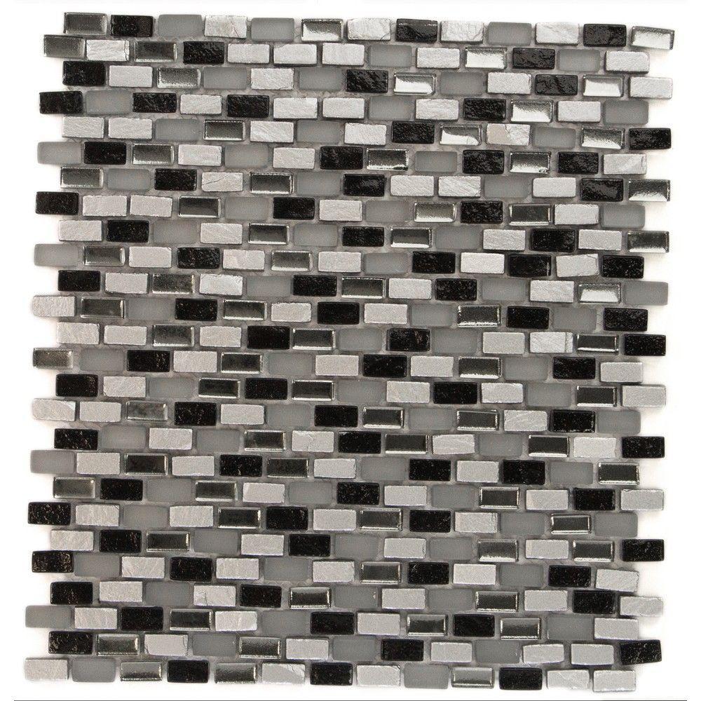 Paradox Space Mini Brick Glass Tile - 3 in. x 6 in. Tile Sample