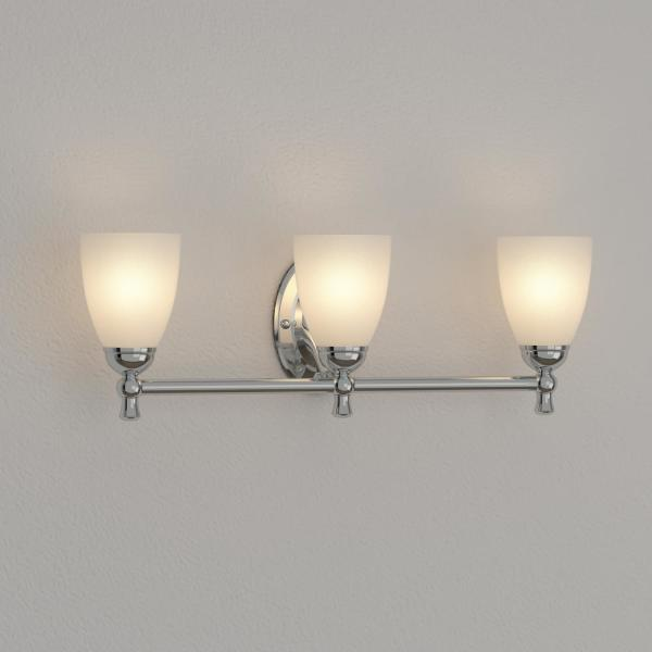 Hampton Bay Solomone 3 Light Polished Chrome Vanity Light With Opal Glass Shades Cp3563 The Home Depot