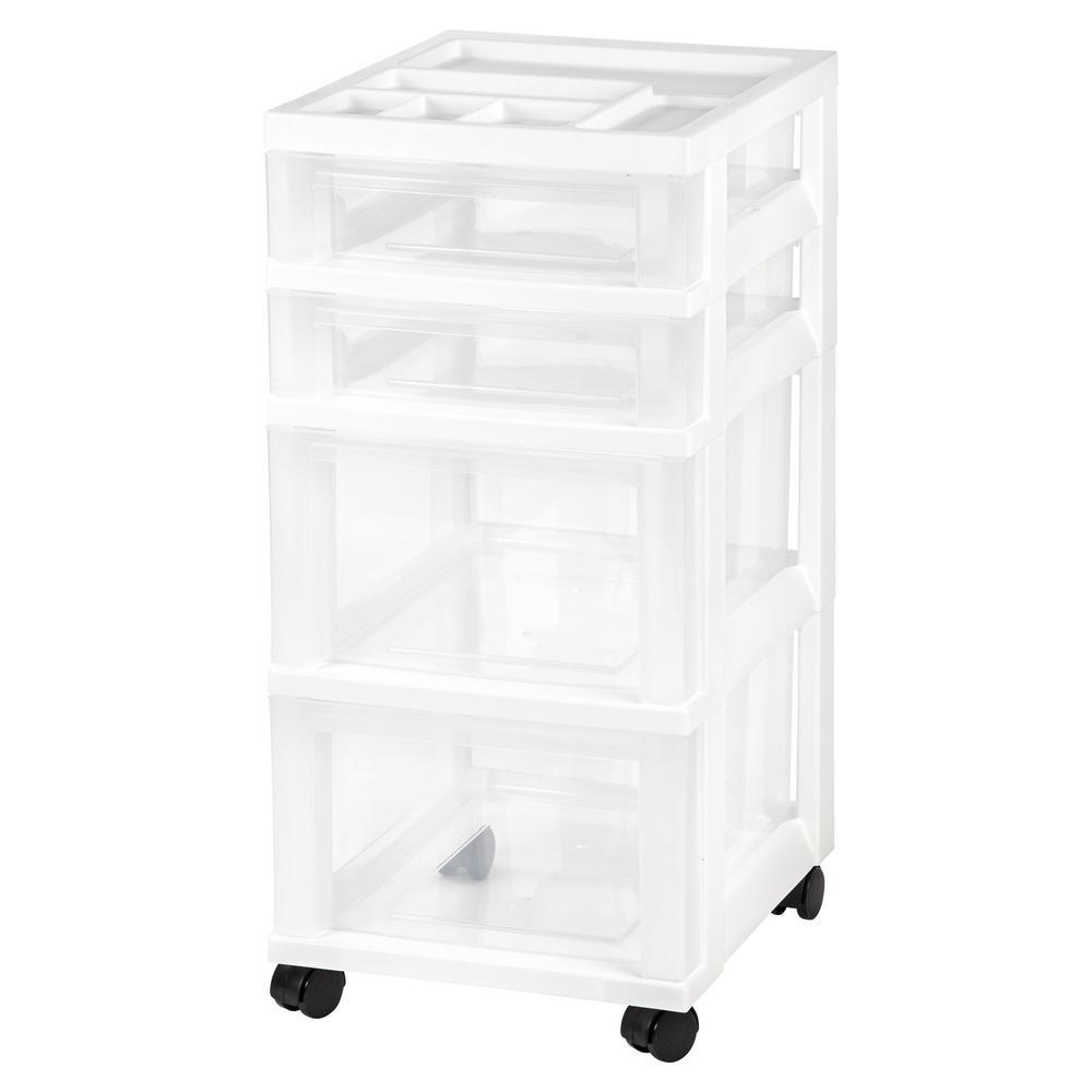 IRIS IRIS 4 Drawer Rolling Storage Cart in White